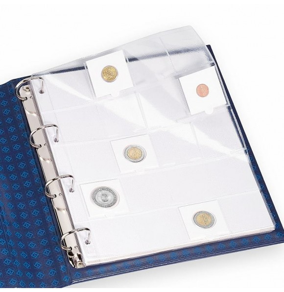 Лист GRANDE для холдеров 50х50 мм, 20 ячеек, с картонным разделителем, прозрачный(5 штук), Leuchtturm
