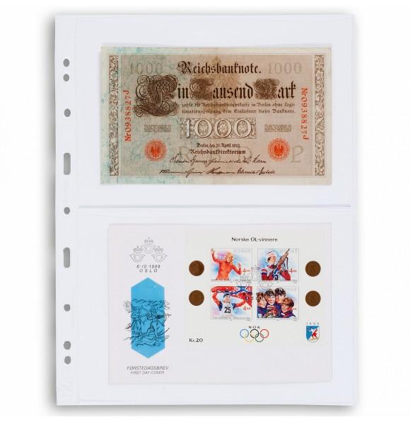 Лист для банкнот GRANDE, 2 ячейки, прозрачный(5 штук), Leuchtturm