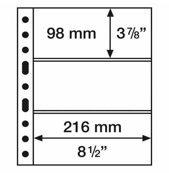 Лист для банкнот GRANDE, 3 ячейки, прозрачный(5 штук), Leuchtturm