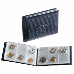 Карманный альбом для монет, 8 листов на 6 ячеек, синий
