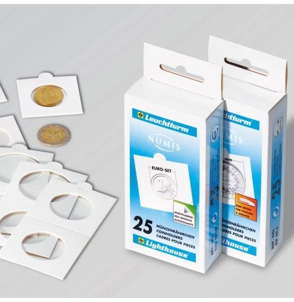 Холдер самокл. белый для монет D до 30 mm 50х50(25 штук)