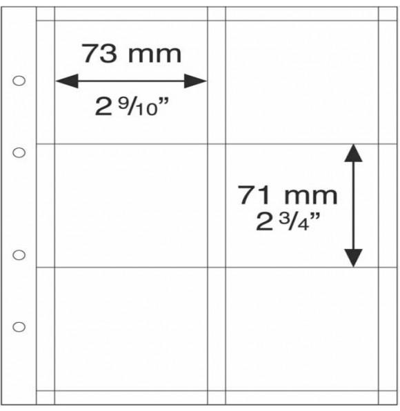Лист OPTIMA на 6 монет до 67 мм (Холдtры XL), Leuchtturm, 5 штук