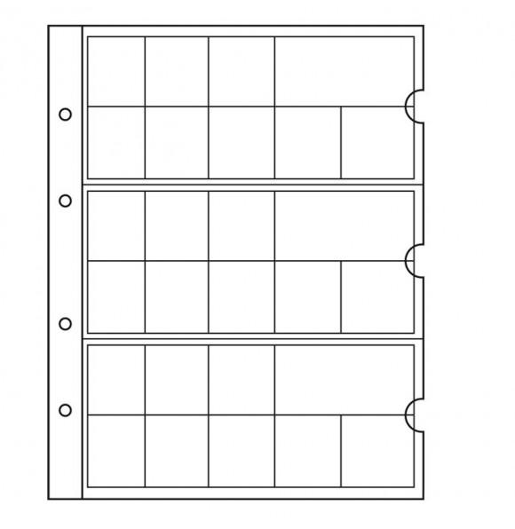 Пластиковый лист NUMIS, для 3-х полных Евронаборов + картонный разделитель,  2 листа Флаги (27 шт.) стран Евросоюза(5 штук), Leuchtturm